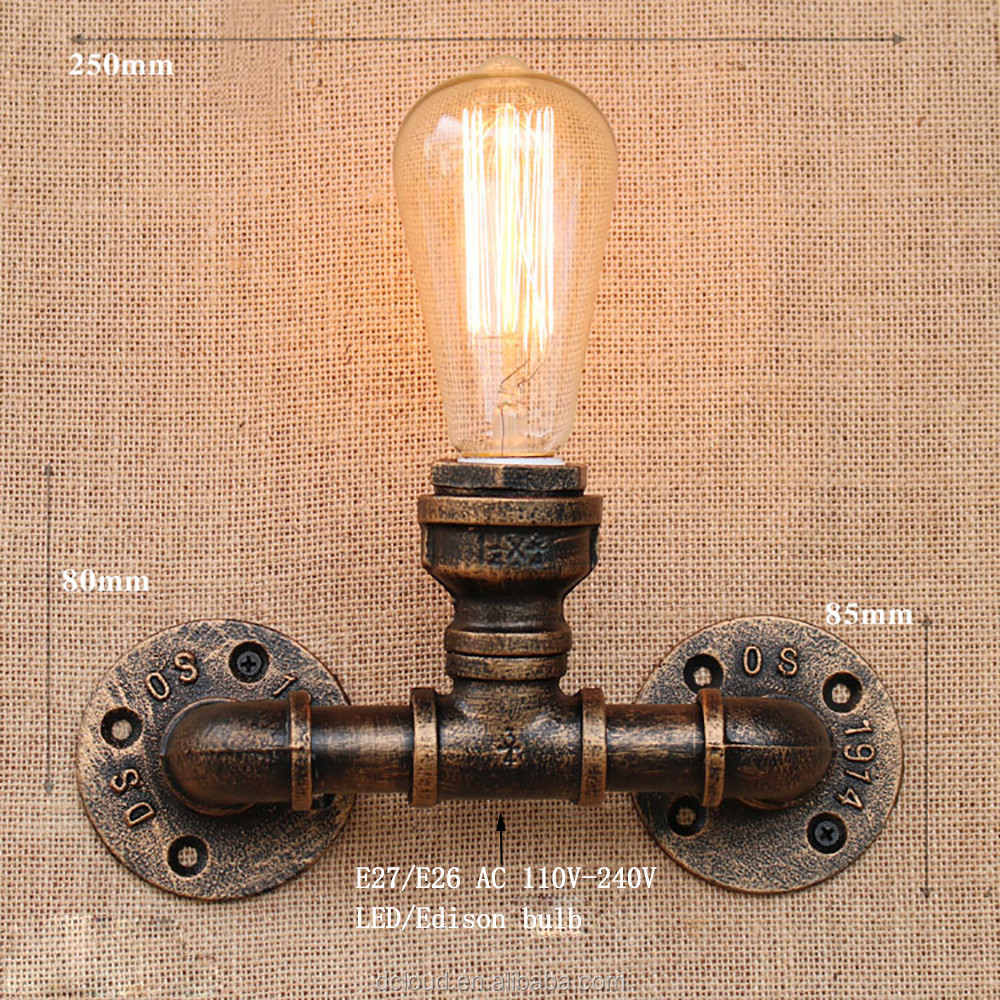 Steam punk Loft Industrial iron rust Water pipe retro living room bedroom restaurant Vintage E27 led wall lamp vintage wall lamp