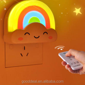 Novelty 3d Cloud Rainbow Led Remote Control Night Lampcartoon Led