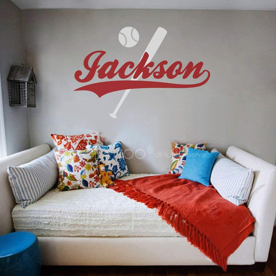 "BATTOO Baseball Name Wall Decal Boys or Girls Name Wall Decal 22"" w Personalized Wall Decal Kids Room Decor Custom Wall Decal Sports Theme Nursery Decor PLUS free hello door decal"