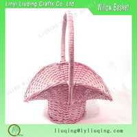 pretty pink flower wicker basket painted classic shabby chippy chic woven Valentine's day basket Easter garden gift basket