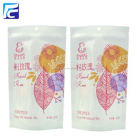 250g Custom printed white Kraft Paper Stand up zip lock resealable food grade stand up rose tea packaging bag
