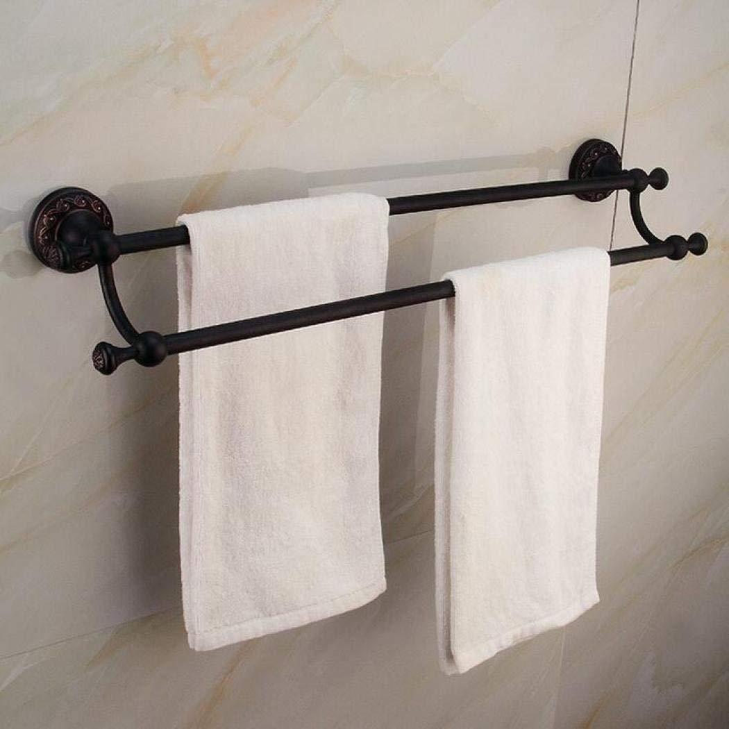 HANTAO Towel bathroom accessories bathroom towel rack copper antique double rod towel rack bathroom storage rod towel rack wall-mounted bathroom towel rack