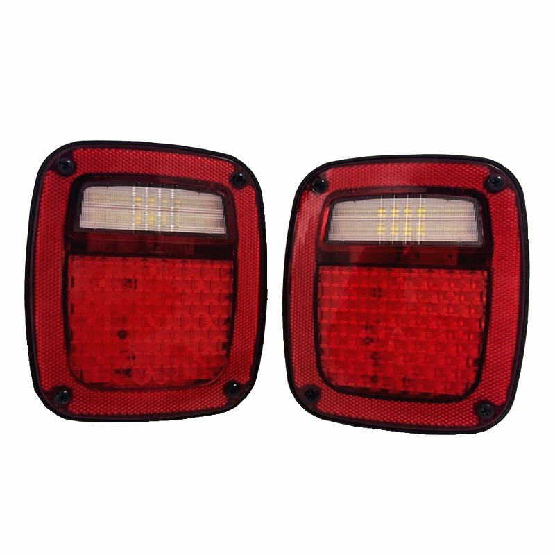 Led Tail Lights with Turning signal, Reverse, Brake ,Runing light, License Plate Light For Jeep Wrangler TJ 98-16 Year