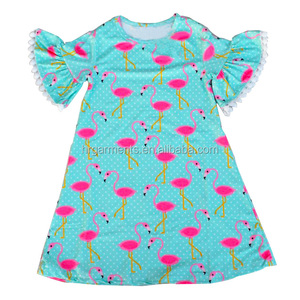 Fashionable children's clothing wholesale, Flamingo pattern design dresses the little girl's dress