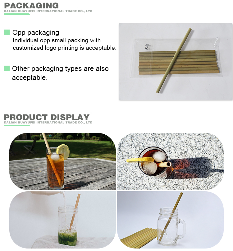 Bamboo Drinking Straws With Customized Logo Reusable Bamboo Straw