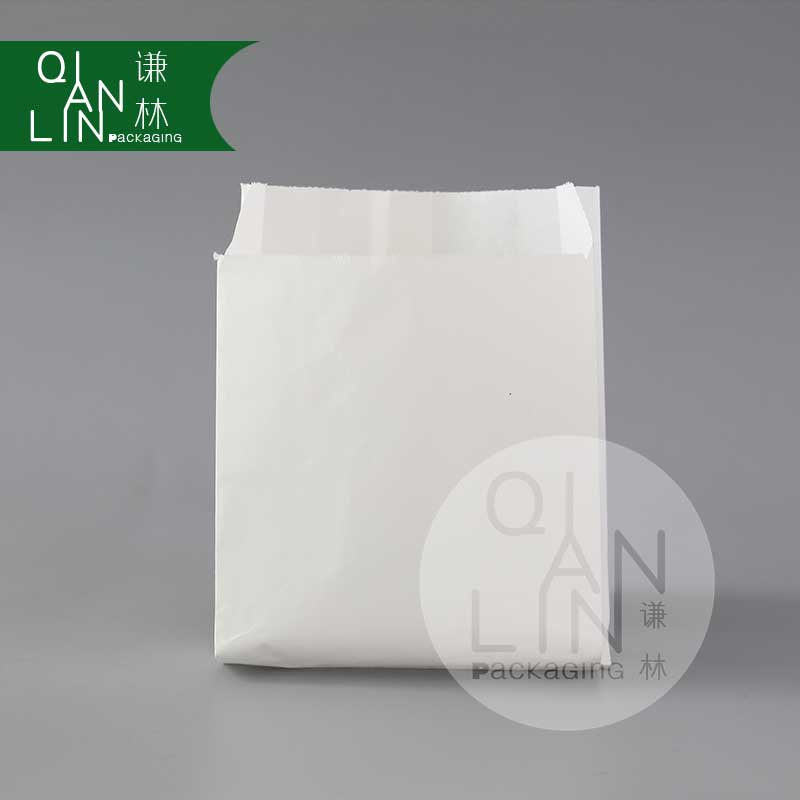 OEM Small White Greaseproof Merchandise Paper Bags with Side Gusset