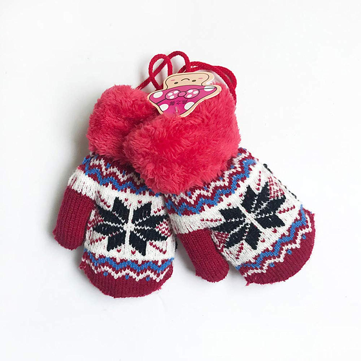 Toddler Baby Boy Girl Warm Winter Mittens Gloves with Fleece Lining Snowflake Design