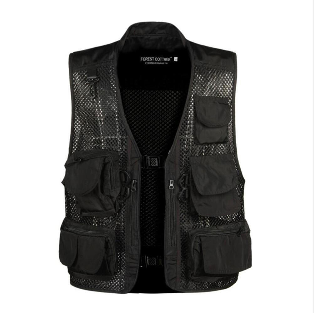 Jaycargogo Mens Mesh Photography Fishing Vest Sleeveless Jacket