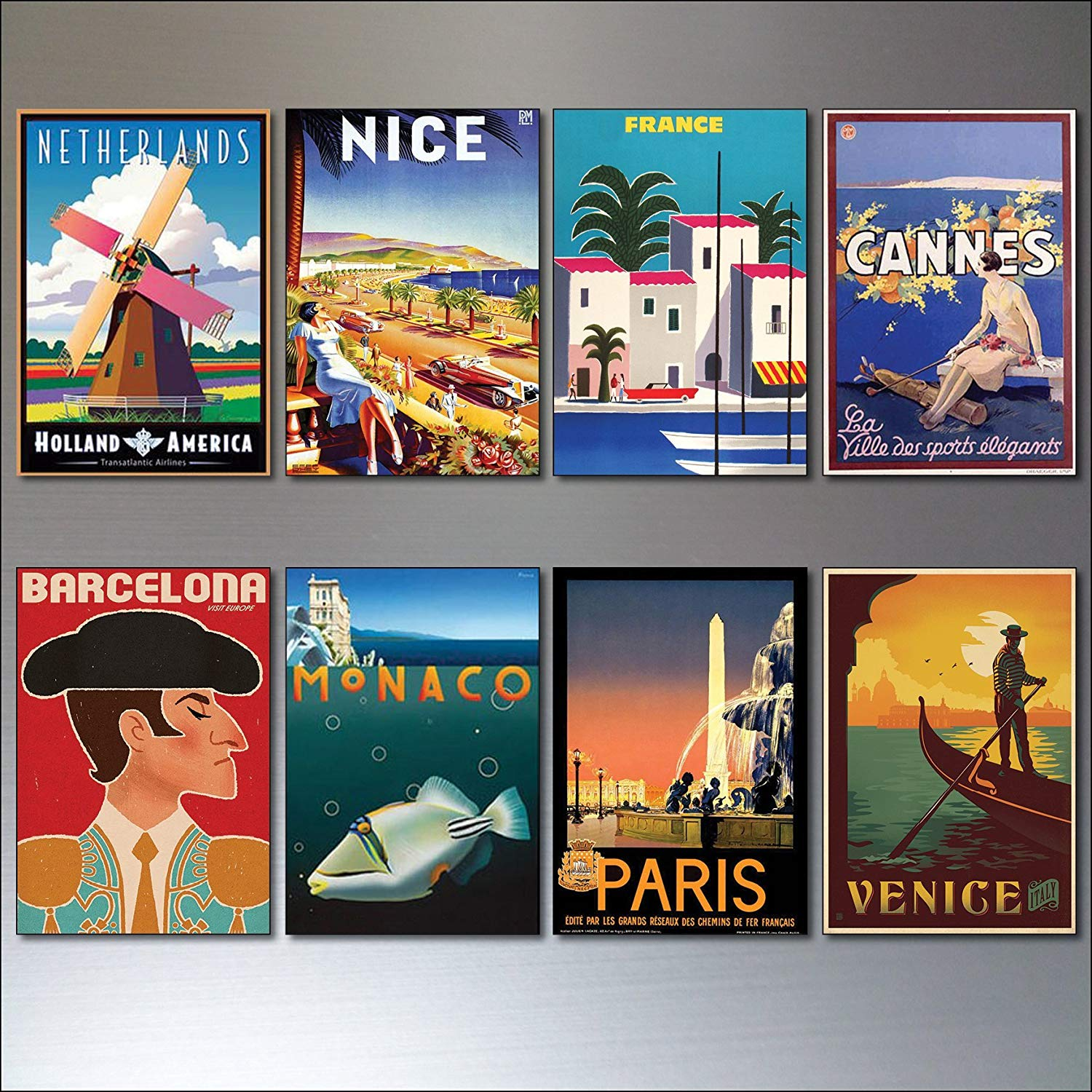 8 Vintage Travel Posters Fridge Magnets from Art Deco Period - Retro repro No.3
