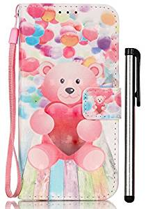[3D Painting] Galaxy S6 Case, Samsung Galaxy S6 Wallet Case, Slim Flip Folio [Kickstand Feature] Pu Leather Wallet Case with ID&Credit Card Slot For Galaxy S 6 Balloon Bear