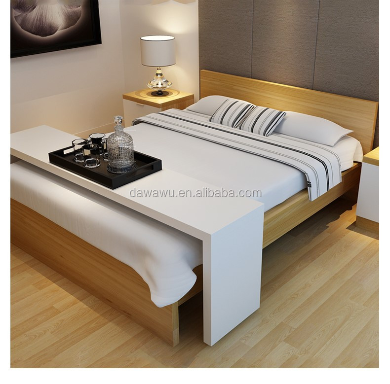 White High Gloss Lacquering Wooden Bed Table With Wheels