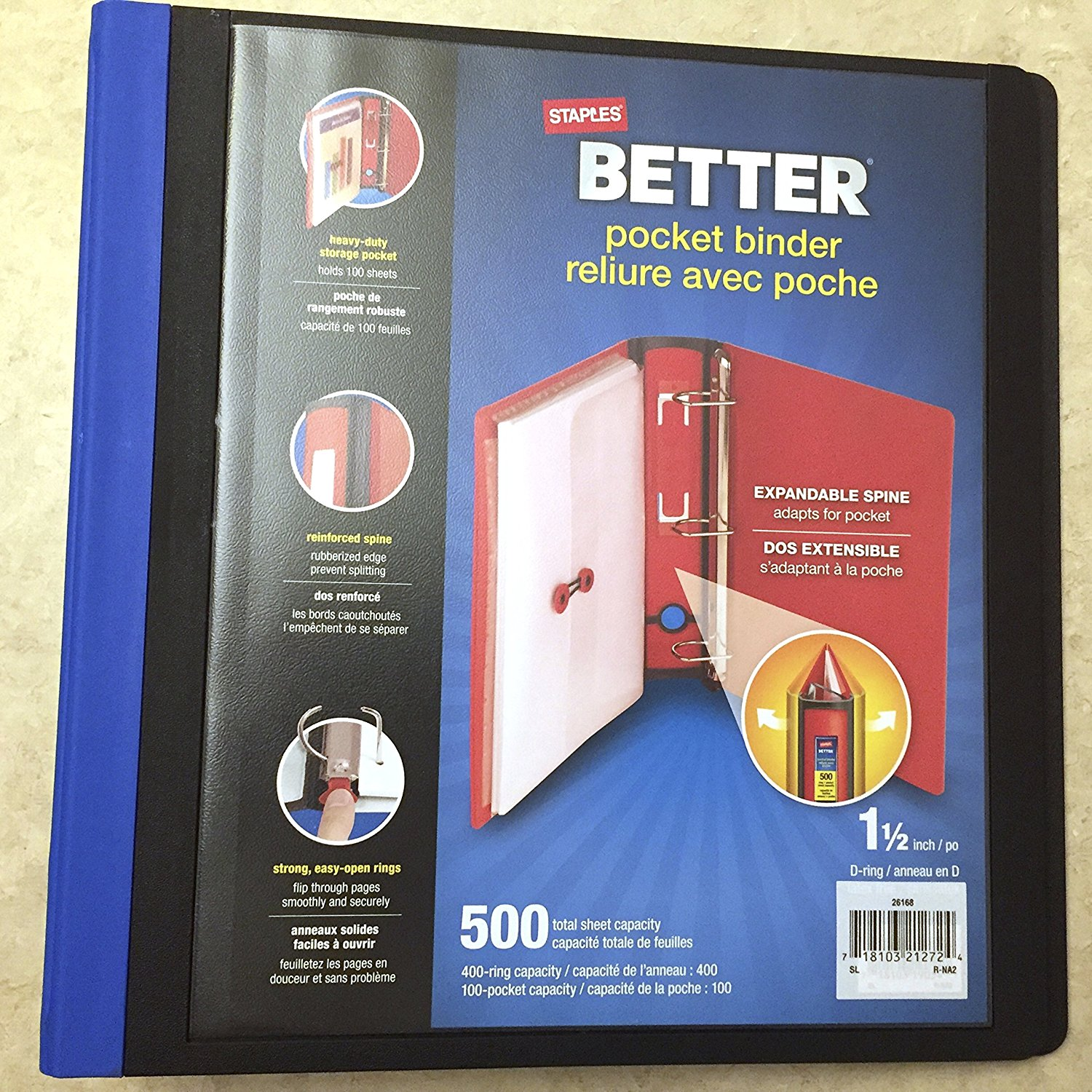 buy staples better view 3 d ring 1 1 2 inch pocket binder 500 total