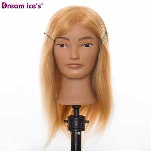 Dream.Ice's Salon Equipments 100% Human Hair Female Mannequin Barber Training Head