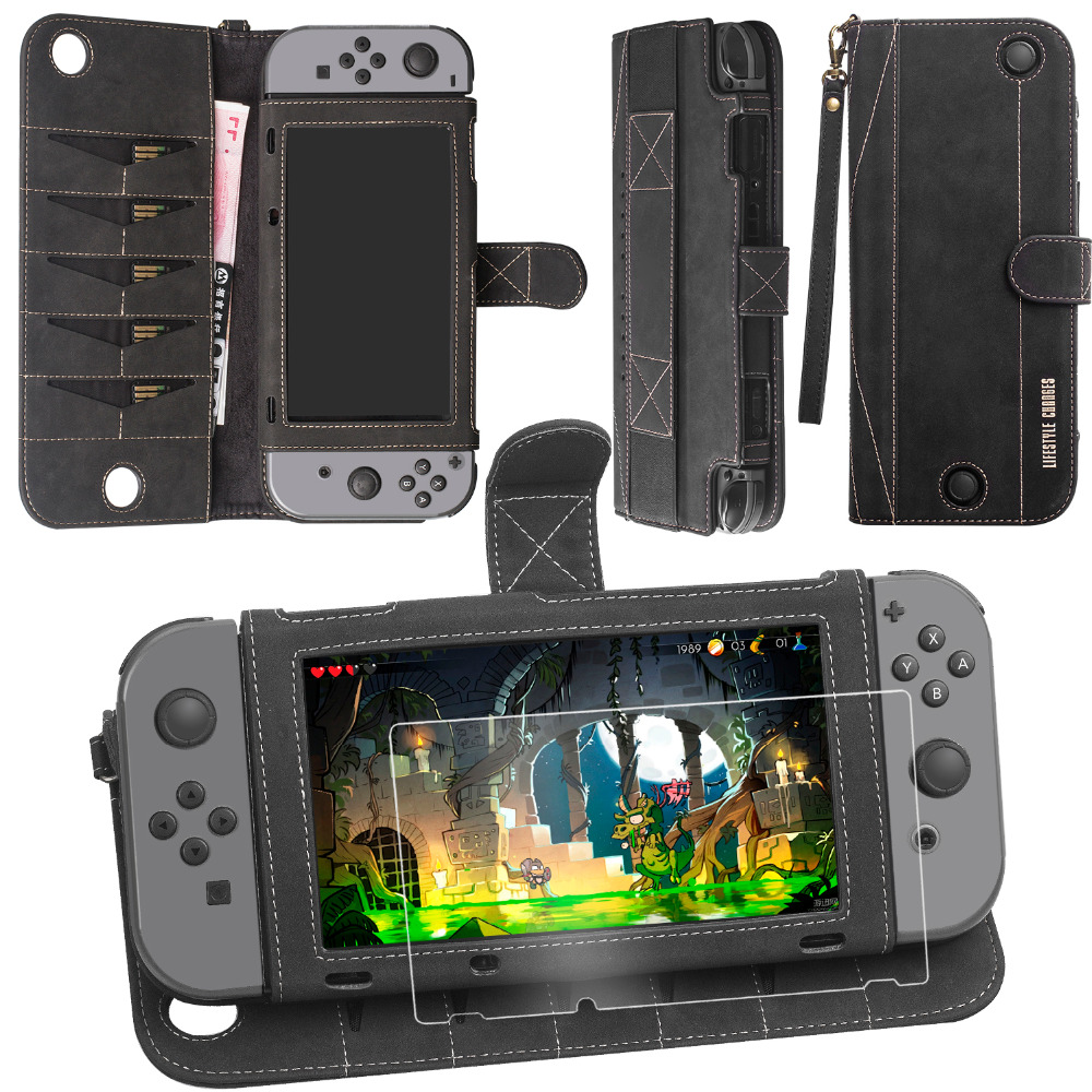 High quality PU leather Protective Travel Case for Nintendo switch with Game Card Wallet Holders