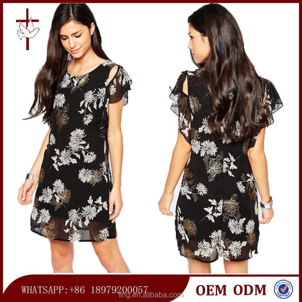 Flutter Sleeve Dress in Eastern Print High Quality Flora Dress