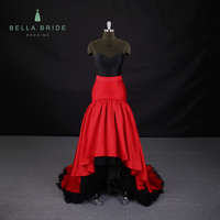 ST-309 black with red satin design Luxury Mermaid Fishtail Strapless Sweetheart disassembly Evening Cocktail Gown Dress