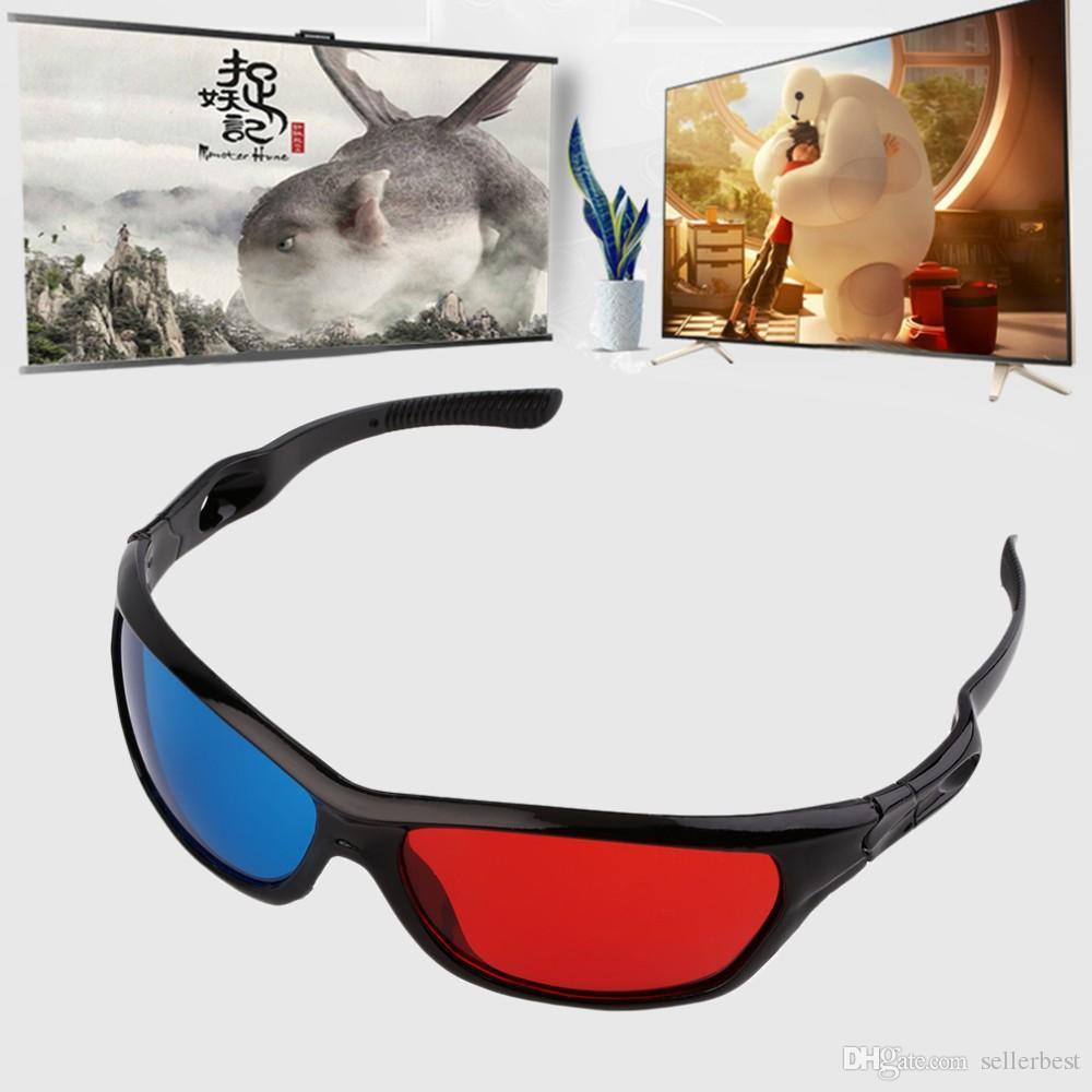Black Frame Universal 3D Plastic glasses/Oculos/Red Blue Cyan 3D glass Anaglyph 3D Movie Game DVD vision/cinema