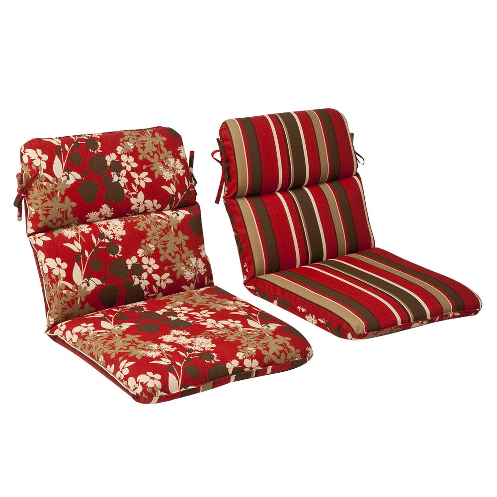 Pillow Perfect Indoor/Outdoor Red/Brown Floral/Striped Reversible Chair Cushion, Rounded