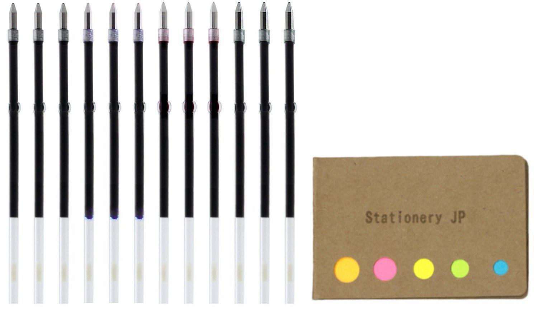 Zebra Ballpoint Pen Refills for Clip On Multi Pen, Fine Point 0.7mm, 4 Color (Black/Blue/Red/Green) Ink, SK-0.7, 12 Total, Sticky Notes Value Set