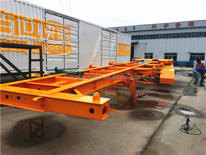 Hongdong brand 40ft 20ft hydraulic cylinder dump container chassis/skeleton truck trailer