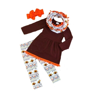 4pcs children thanksgiving turkey clothing sets girls festival boutique tops and pants