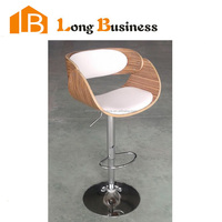 LB-5072 Zebra wood venner high chair, bar chair with armerest and adjustable height, white PU