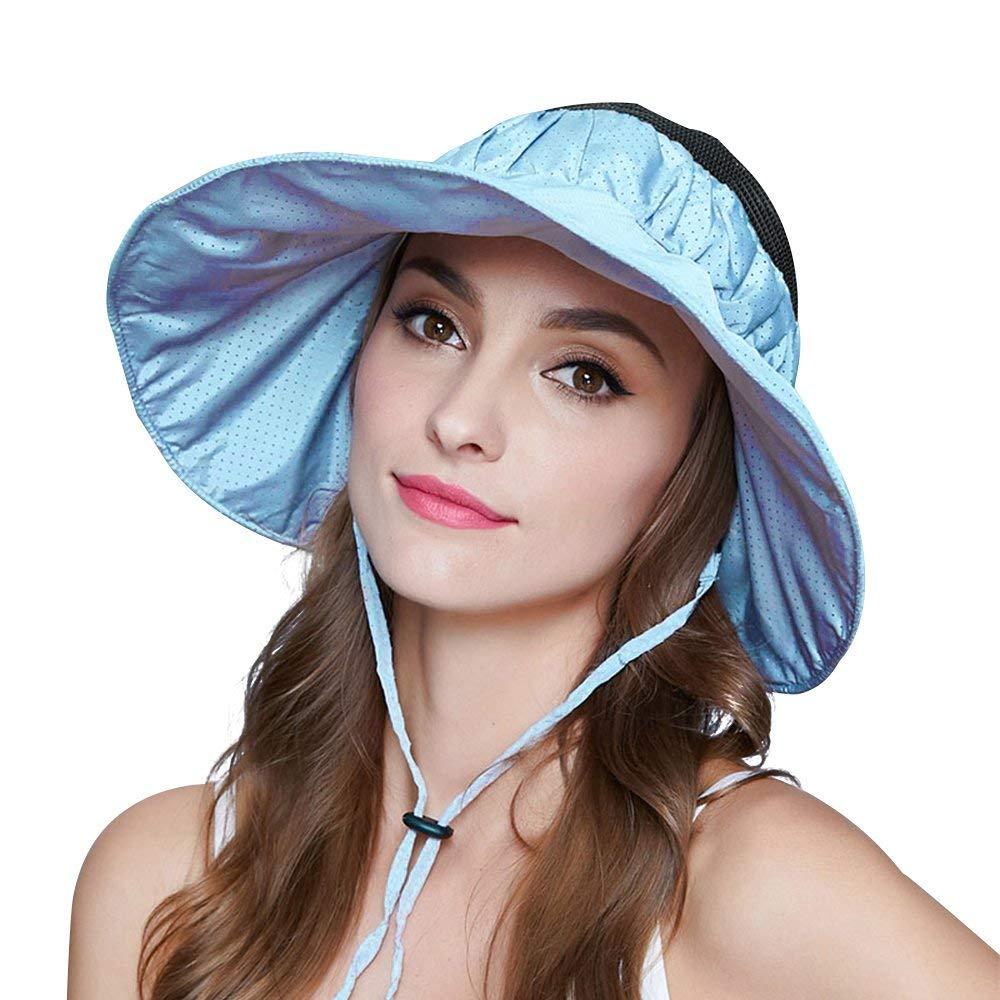 Get Quotations · Mysoulfor Womens UV Protection Wide Brim Adjustable Beach Sun  Visor Hats Caps 2baa926e09b6