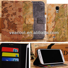 Map Wallet Stand Leather Case Cover for Samsung Galaxy S4 i9500 case