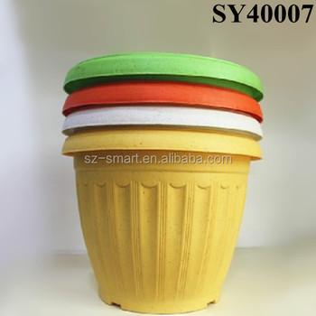 Colore Pot Pour Plante D Interieur Jaune Grand Pot En Plastique En