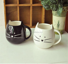 2016 hot sale innovative products of black and white cat 3D cat design ceramic mug for Chrinstmas's gift