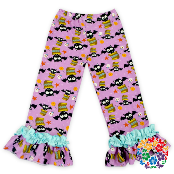 New Pattern Purple Color Bat Printed Baby Pants For Halloween Cotton Kids Halloween Ruffle Pants Wholesale Girls Ruffle Pants
