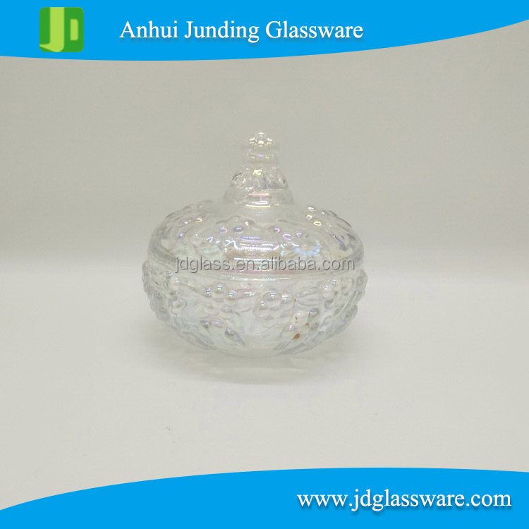 hot selling home/wedding decorative clear glass candy jar with lid for nut sugar cheap glass candy pot