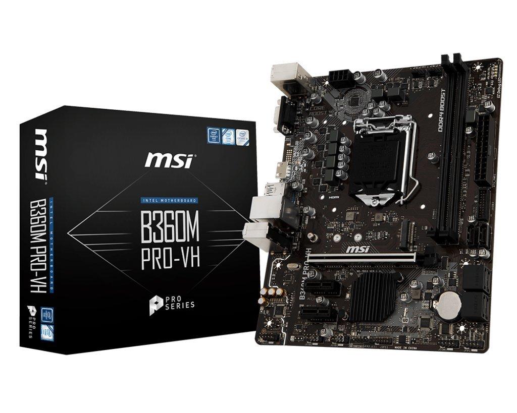 MSI Pro Series Intel Coffee Lake B360 LGA 1151 DDR4 Onboard Graphics Micro ATX Motherboard (B360M PRO-VH)