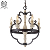 American Vintage Black Wrohght iron Pendant Light Retro Wood Chandelier for restaurant