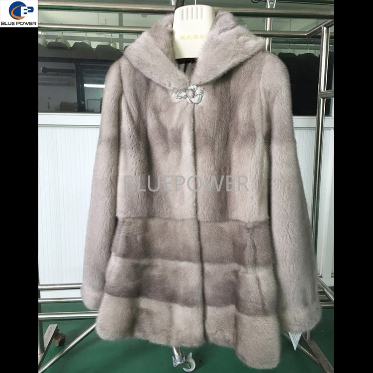Russian style winter mink fur coat with hooded for ladies