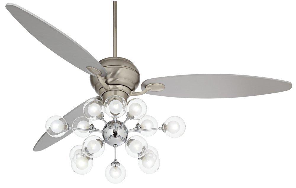 """60"""" Spyder Glass Orbs LED Steel Silver Blade Ceiling Fan"""