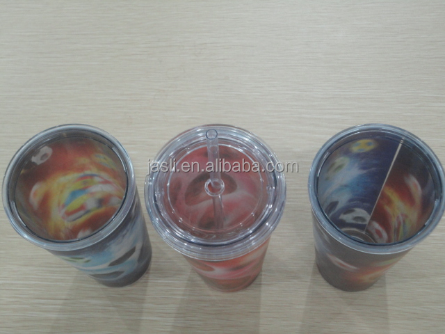 2015 Newest Hot Sales 24oz Double Wall 3d print Tumbler with straw and lid