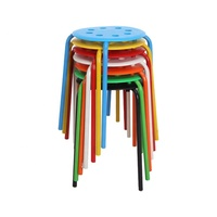 Hot selling cheap stools stackable colorful plastic round top stool with metal frame