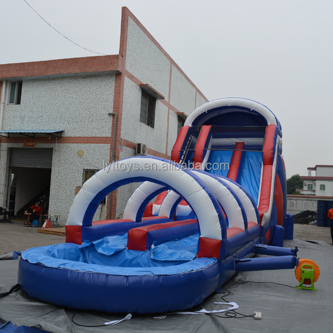 High quality customized inflatable water slide pool inflatable double lane slip slide