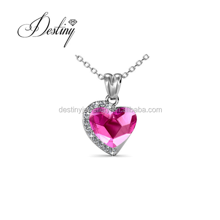 Destiny Jewellery Top selling pendant for valentine's day heart pendant birthstone necklace with Crystal from Swarovski