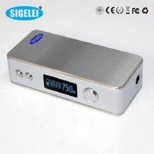 Alibaba express Original Sigelei 75W Sigelei 75 Watt Box Mod with Variable voltage adjustable and Temperature control