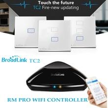 Broadlink RM PRO + TC2 Touch Light Wall Switch 1/2/3Gang UK STD,Smart Home Automation,Universal Remote Controller WIFI+IR+RF