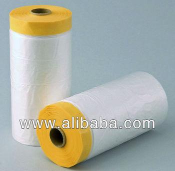 pretaped plastic drop cloth masker roll for car paint masking 1000mm x 35m