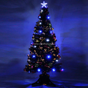 150CM/5FT Indoor Optical Fiber Green Christmas Tree, Twinking LED Crystal Top Star Christmas Tree Customized