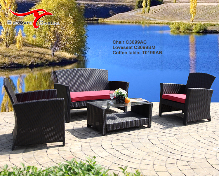Wholesale Rattan Wicker Outdoor Furniture Patio Deep Seating Sectional Sofa Set with Coffee Table