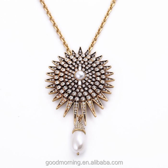2015 Fashion Trending Gold Jewelry Gold Thin Chain Necklaces Boho Pearl Pendant Necklace Pearl Drop Necklace N2458