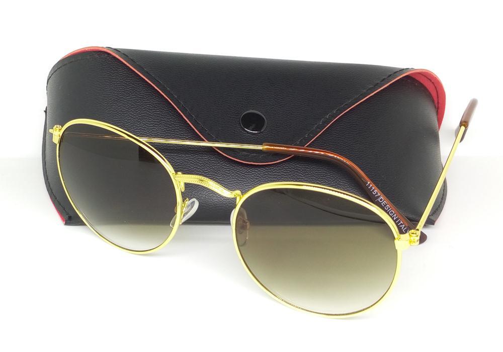 88477efa01 Get Quotations · Round Metal Sunglasses Designer Glasses Eyewear Gold Green  Flash 50mm ray Glass Lenses For Mens Womens