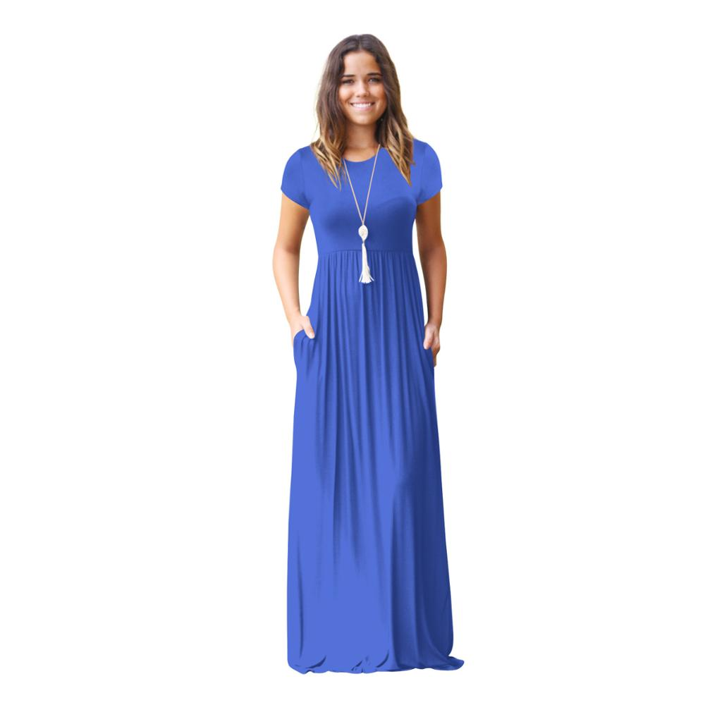 Women's Short Sleeve Maxi <strong>Dress</strong> with Pockets Plain Loose Swing Casual Floor Length Long <strong>Dresses</strong>