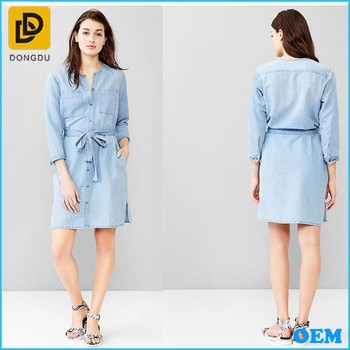 c173c4645f4 New Arrival Girls Fashion Casual Belted Denim Shirt Dress Design ...