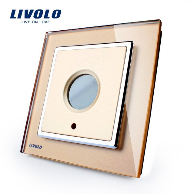 Livolo Golden Glass Panel New Wall Light Time Delay Home Wall Light Switch VL-W291Y-13